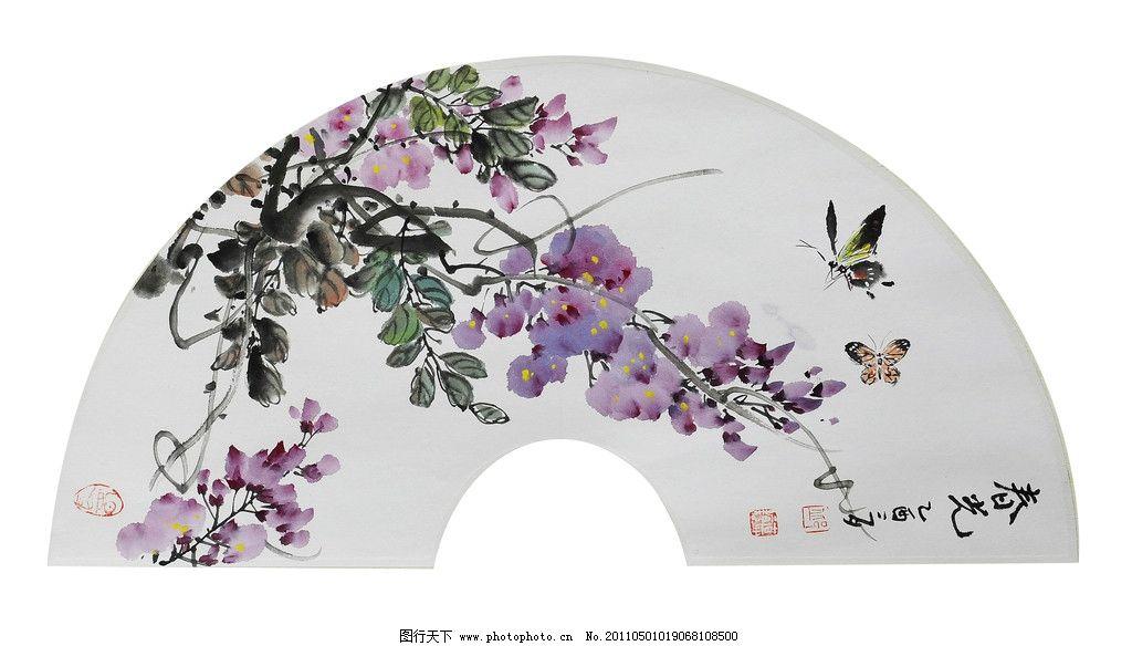 邱德镜 紫藤 燕子 扇面 国画 水墨画 写意画 国画作品 绘画书法 文化