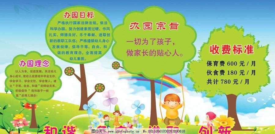 幼儿园展板 幼儿园背景 宣传栏 办园宗旨 办园目标 办园理念 收费标准