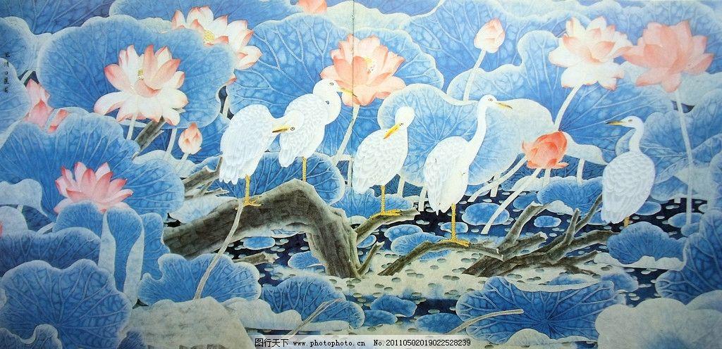 意境荷塘 国画 荷花绽放 水墨晕染 水彩画 粉白色荷花 朵朵绽放
