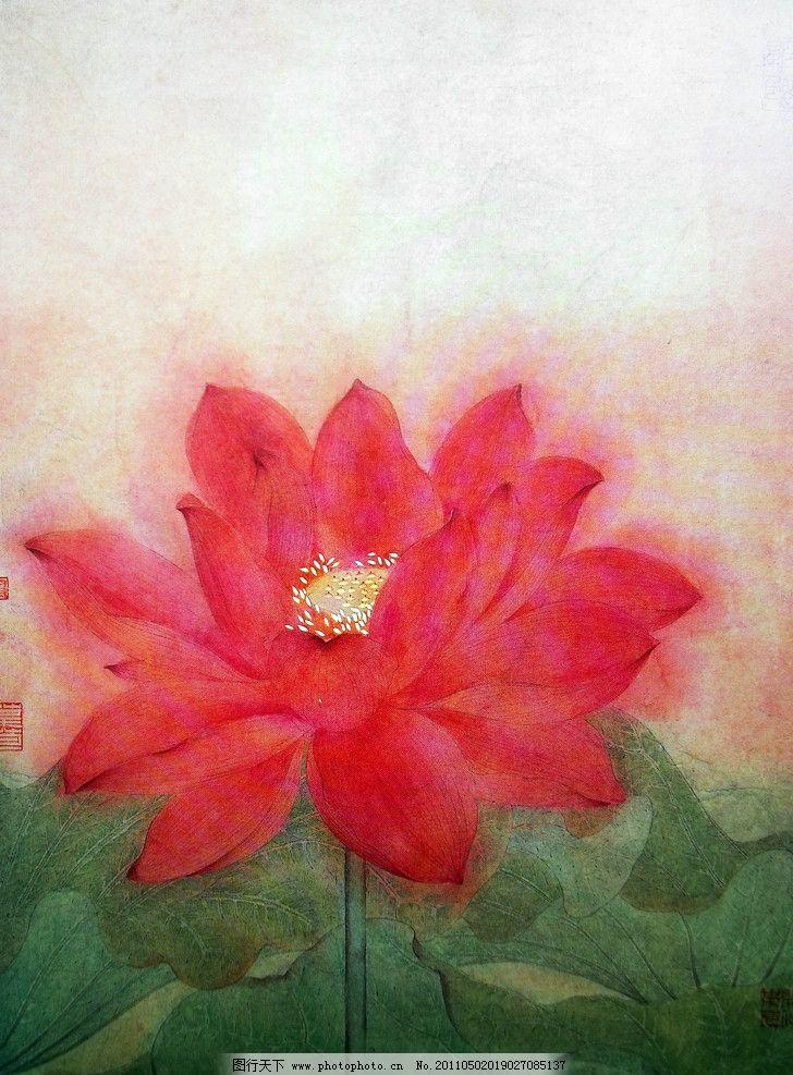 荷花 荷叶图片,国画 绢纸绘画 水彩画 大红色荷花-图