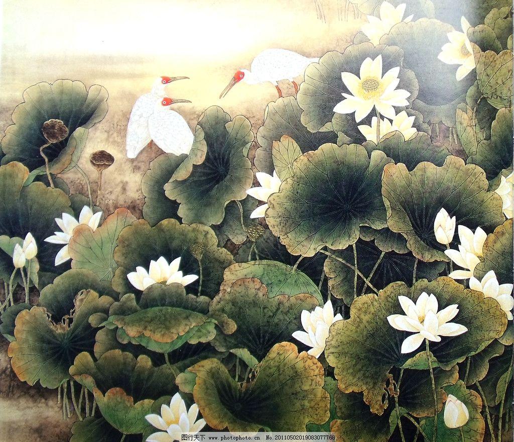 荷塘 荷花 国画 水墨晕染 水彩画 粉白色荷花 朵朵绽放 白鹭