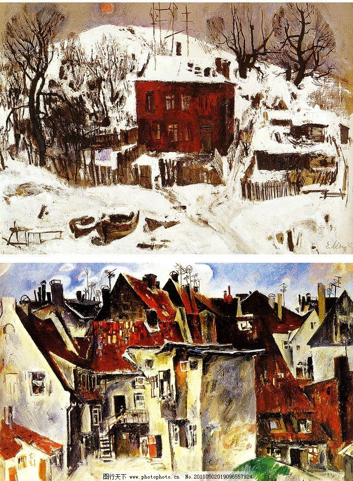 冬天雪地手绘画
