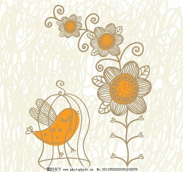 可爱小鸟和花纹矢量素材 手绘 线描 花边 花朵 花卉 鸟笼 纹样
