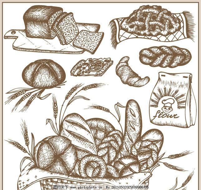 面包矢量素材 手绘 素描
