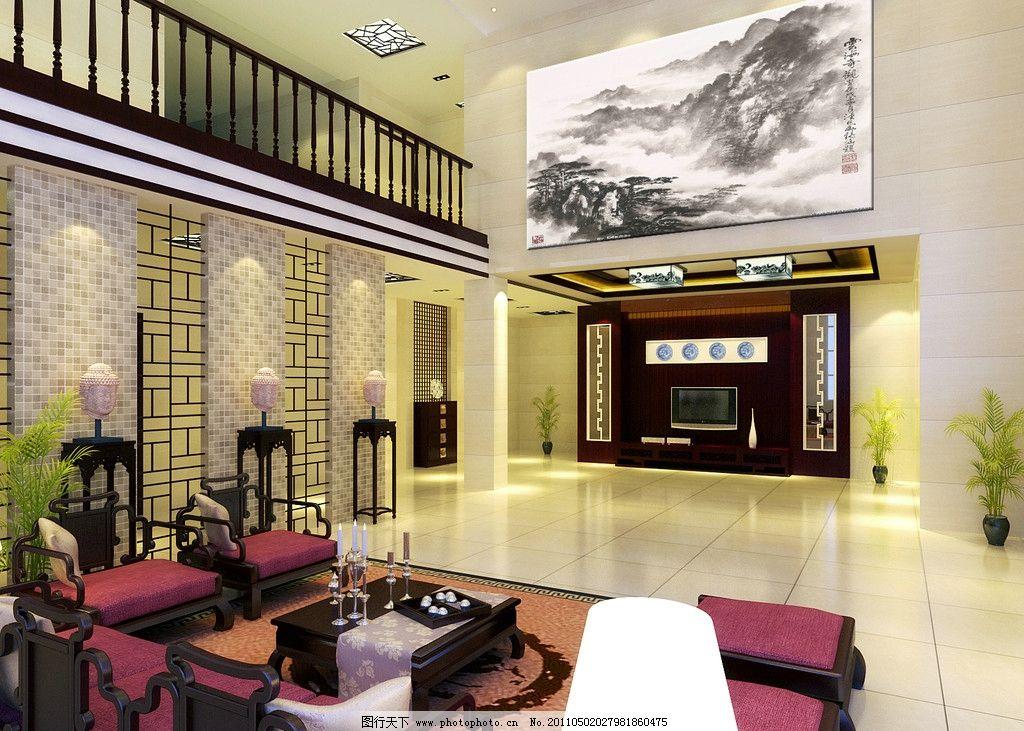 中式别墅室内效果图 别墅 中式客厅 装修        室内设计 环境设计