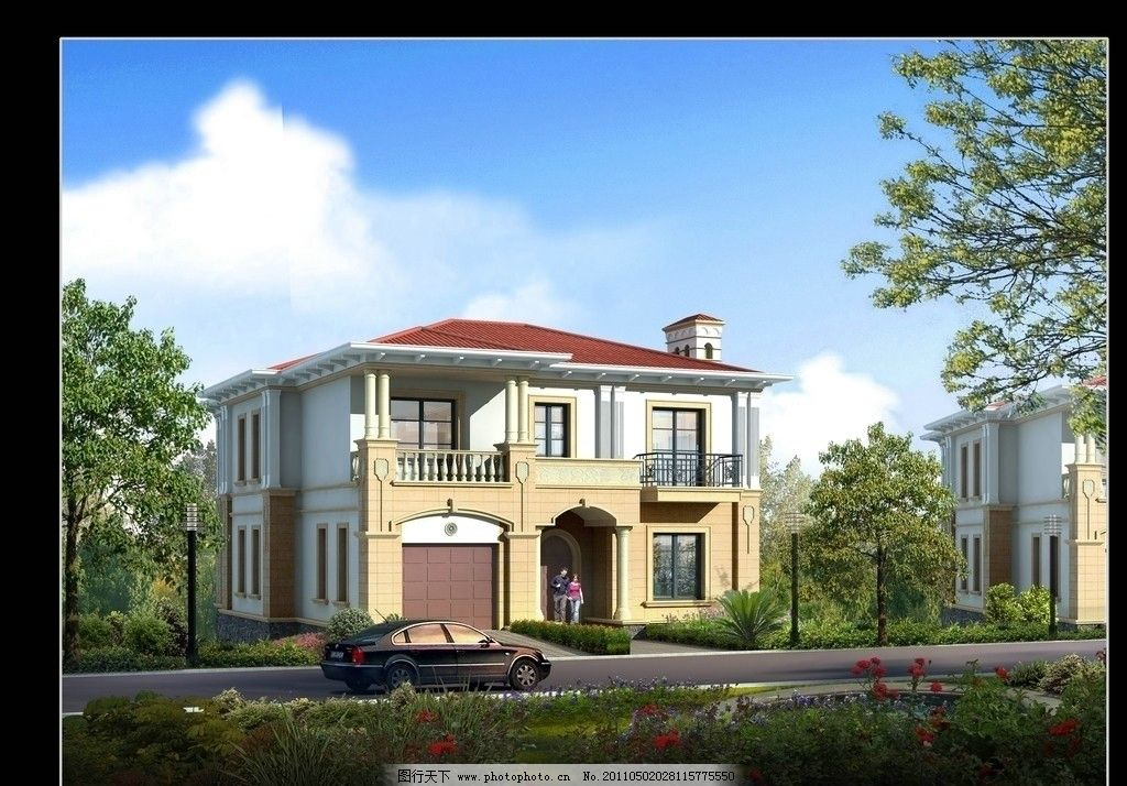 别墅效果图 欧式风格 建筑 景观设计        后期 环境设计 源文件 72