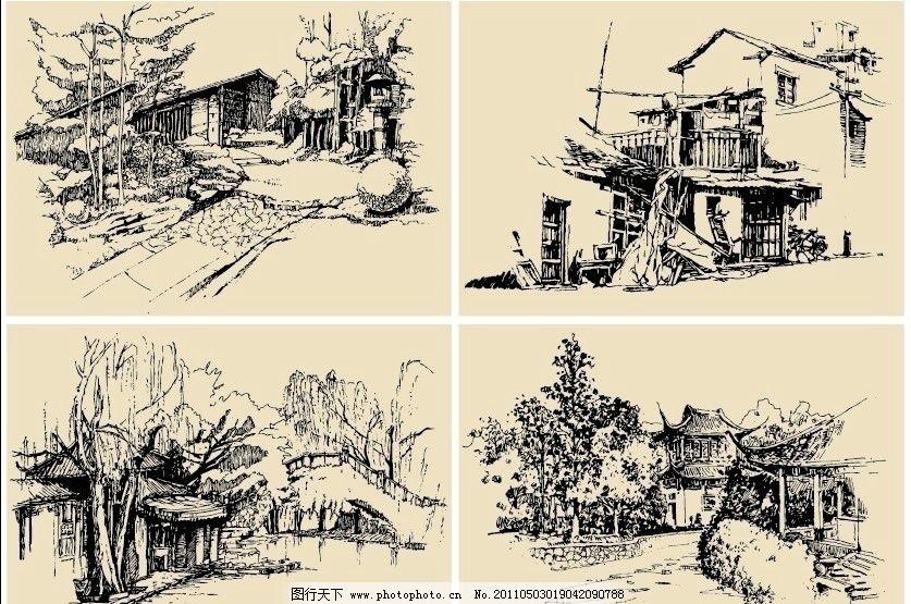 钢笔速写画 钢笔画 速写 素描 手绘 线描 风景 房屋 树 桥 建筑 古镇
