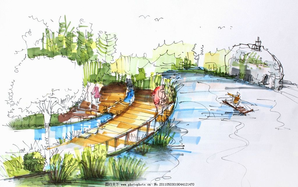 手绘效果图 园林景观 桥