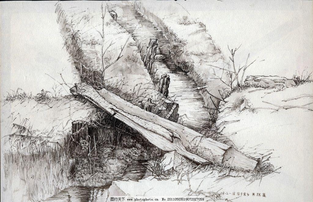 家乡小桥 小桥 野花 木头 野草 绘画书法 文化艺术 设计 jpg