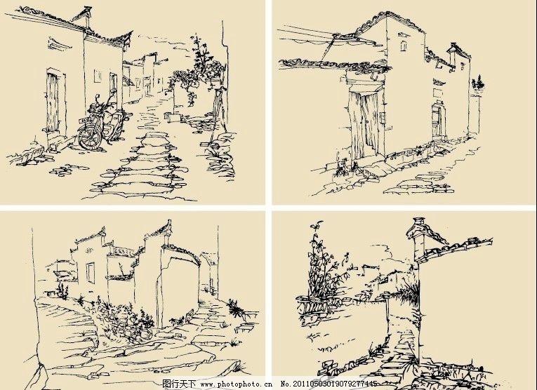钢笔速写画 钢笔画 速写 素描 手绘 线描 风景 房屋 建筑 古镇 美术