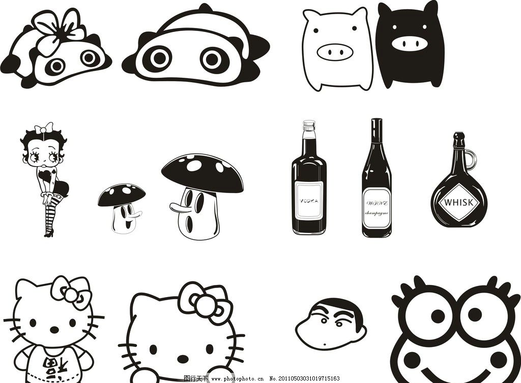 车贴系列 熊猫 猪 小猪 黑白猪 贝利 美女 蘑菇 酒 蜡笔小新
