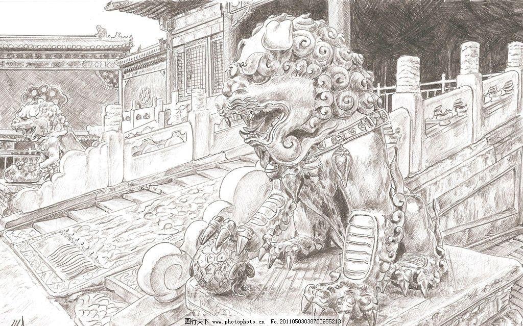 石狮子素描图片