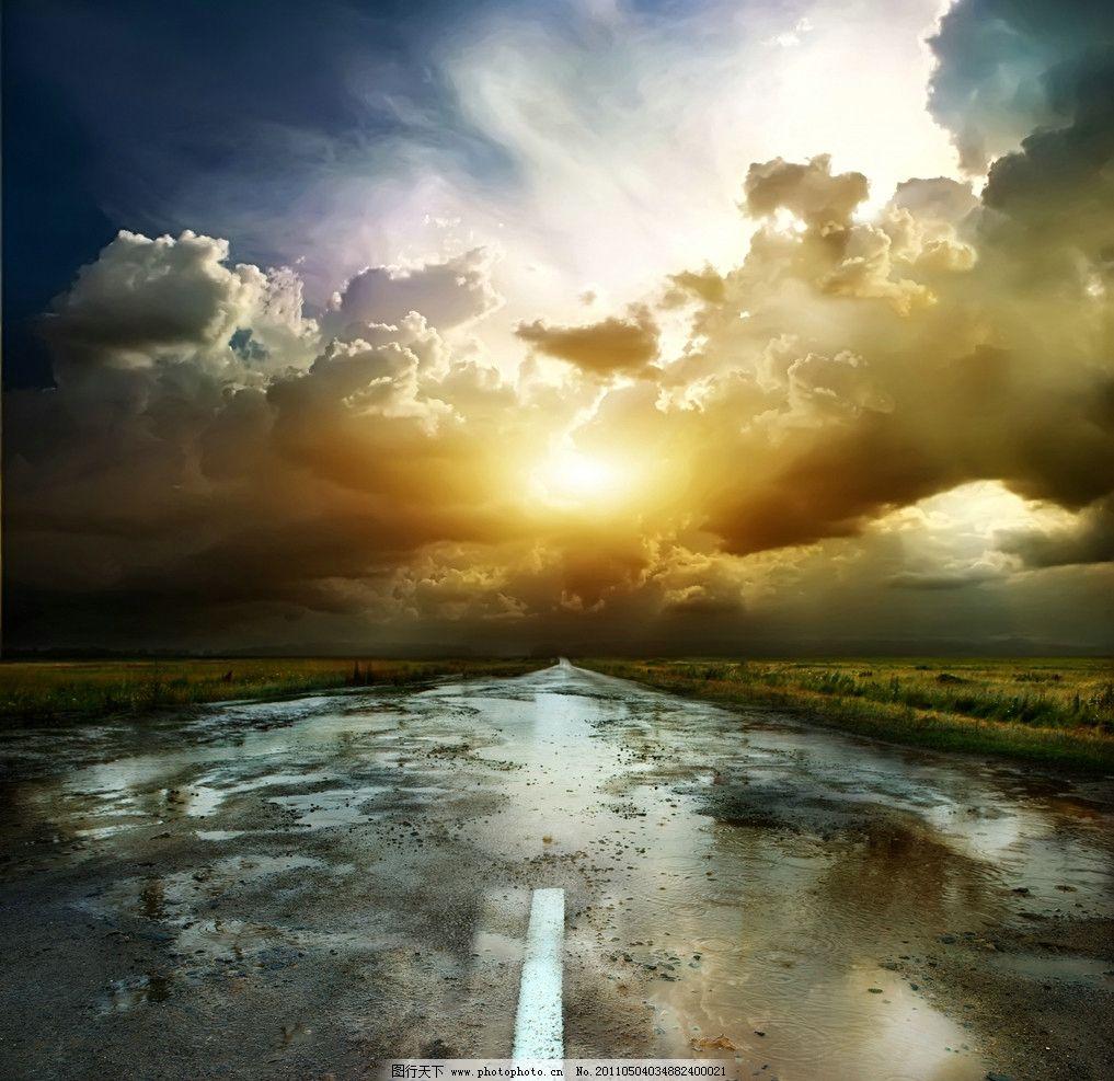 雨后放晴的天空 公路 高速公路 蓝天 白云 云彩 自然风景 自然景观
