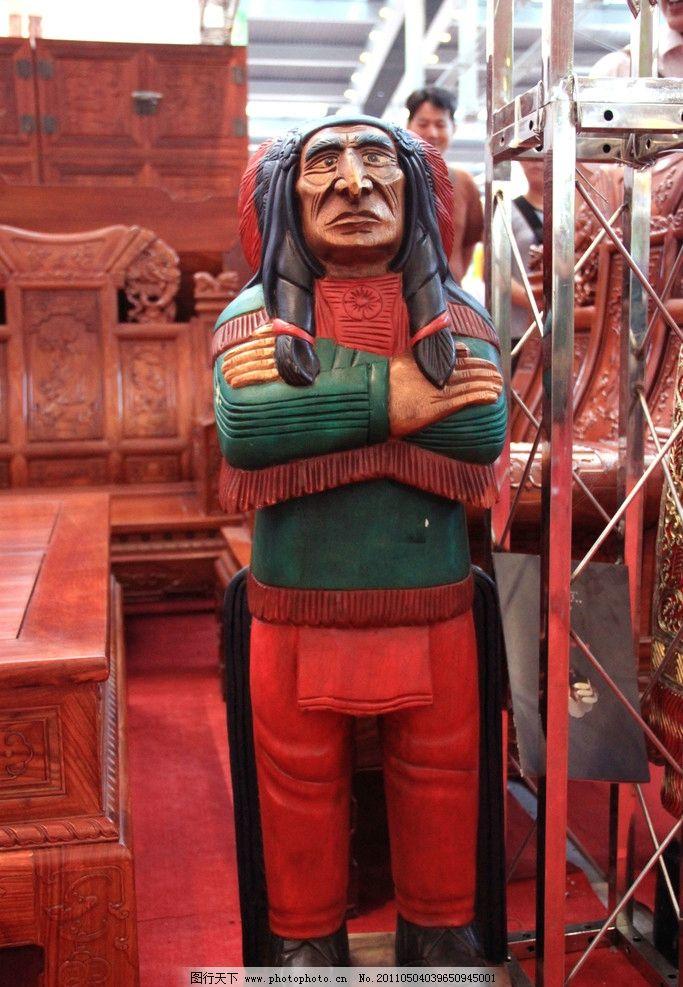 木雕印第安人二图片
