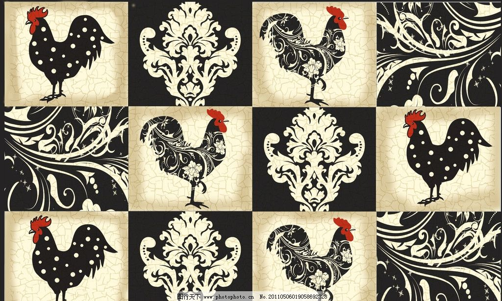 黑白鸡 公鸡 花纹 装饰画 方格 格子画 绘画书法 文化艺术 设计 300