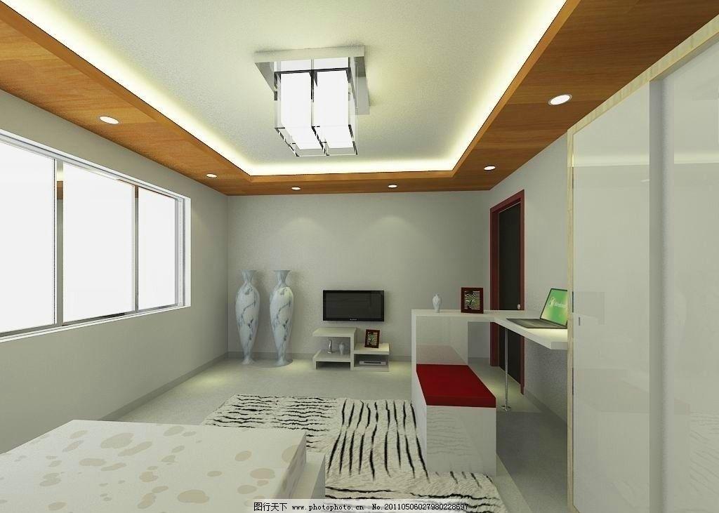 卧室效果图 顶灯 天花板 白天 电视 电脑 地毯 床