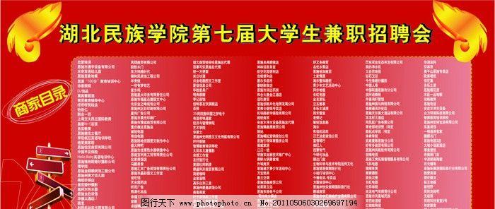 大学生兼职招聘会 湖北民族学院 第七届 兼职招聘会 展板模板 广告