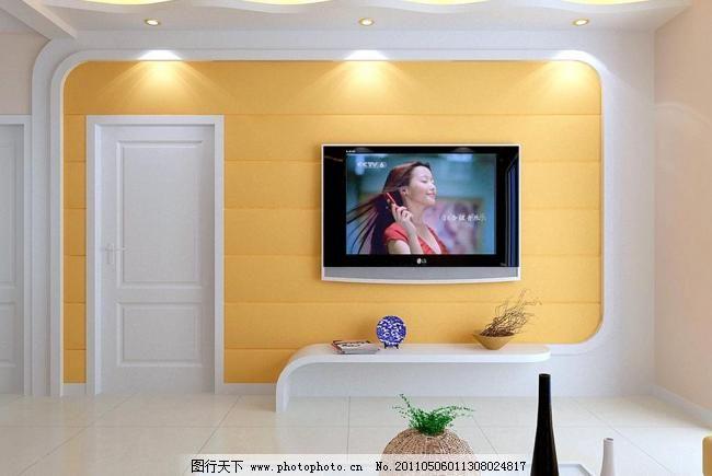 影视墙效果图模板下载 影视墙效果图 影视墙 隐形门 电视柜 吊顶 室内