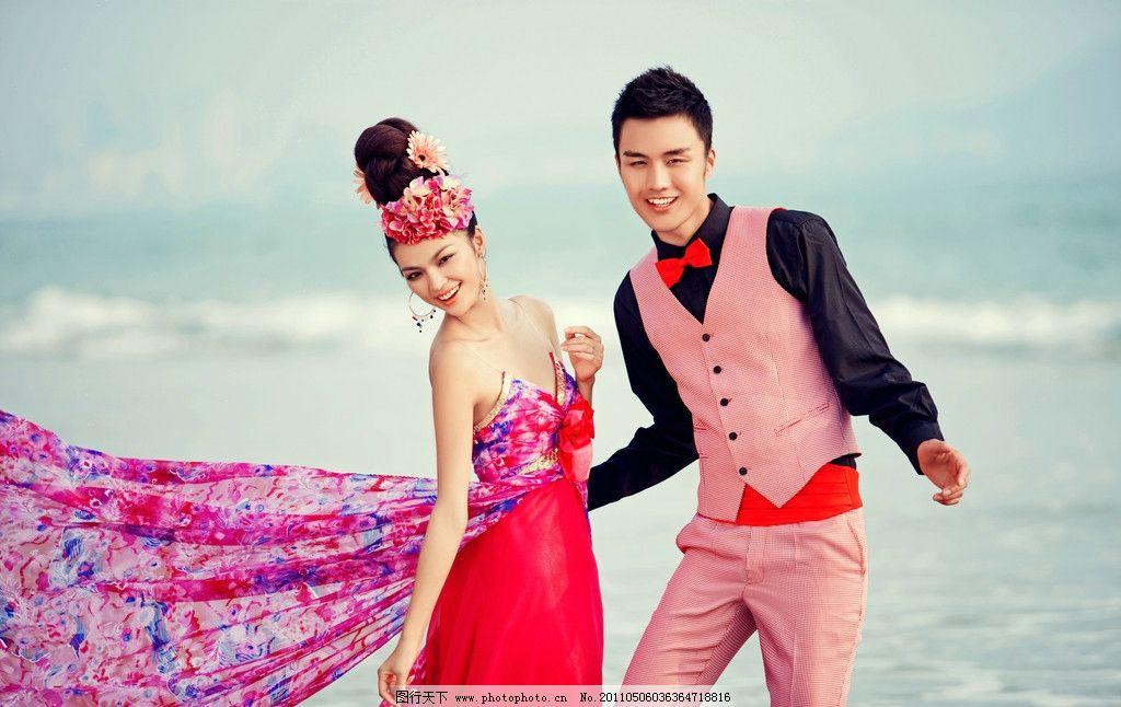 婚纱照 海南三亚 海边 海景 蓝天白云 人物摄影