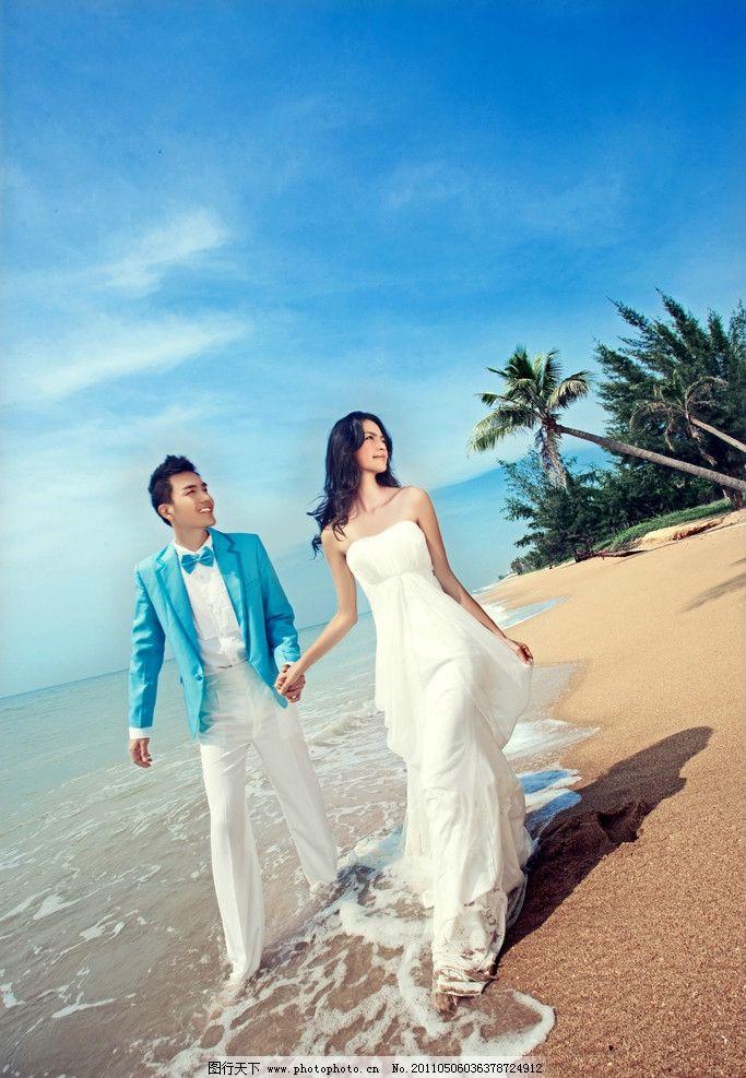 婚纱照 海南三亚 海边 海景 蓝天白云 沙滩 人物摄影 人物图库 摄影 2
