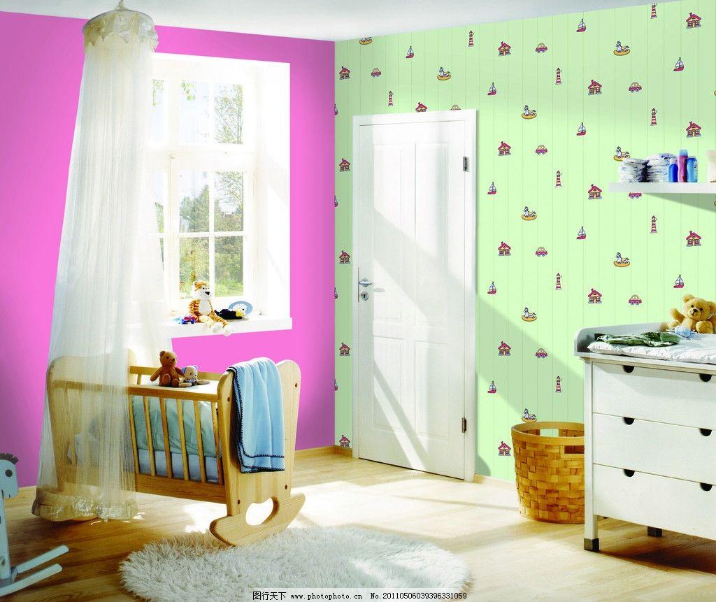 儿童房 墙纸 婴儿床 室内摄影 建筑园林