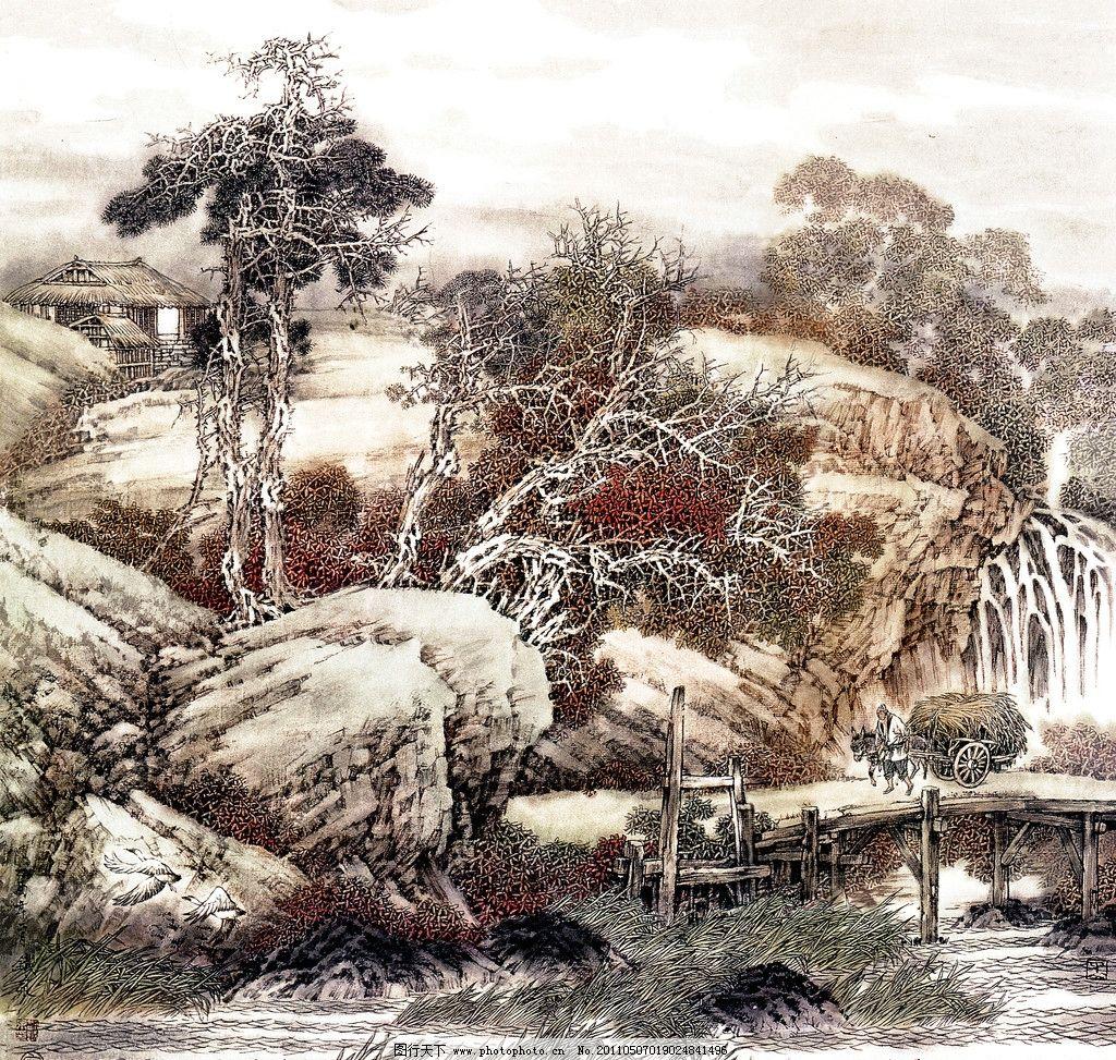 十里山水 工笔山水画 中国水墨画 山水风景 小写意画 传统中国画 山亭