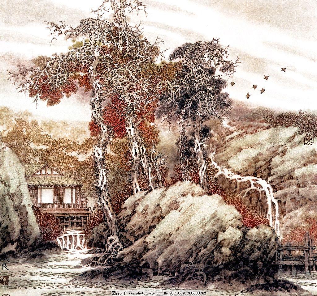 山水 工笔山水画 中国水墨画 山水风景 小写意画 传统中国画 山亭