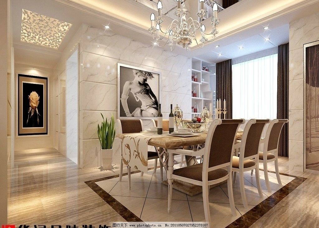餐厅 欧式沙发 工艺品 装饰品 摆设 灯具设计 盆栽