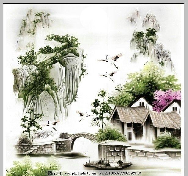 水彩画山水 山水 船 房子
