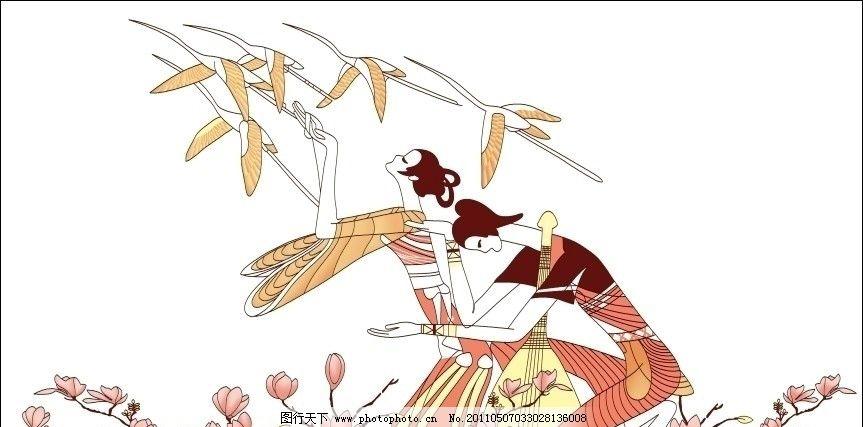 装饰画人物 装饰画 人物 美女 仙鹤 花 ps绘制分层图 psd分层素材 源