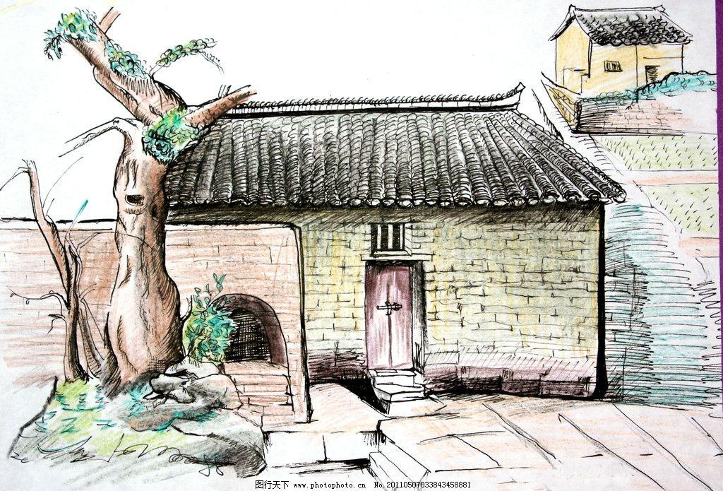 风景写生 乡村小屋 风景画 速写 图片素材 其他