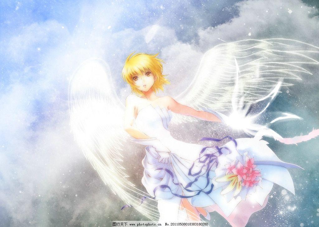 天使 梦幻 女孩 花 动漫动画