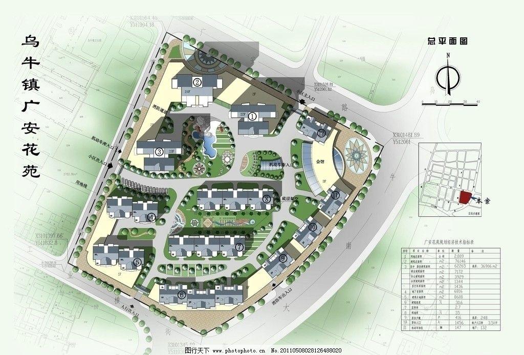 建筑平面图 互通鸟瞰图 枢纽 景观 绿化 植物 树田山云