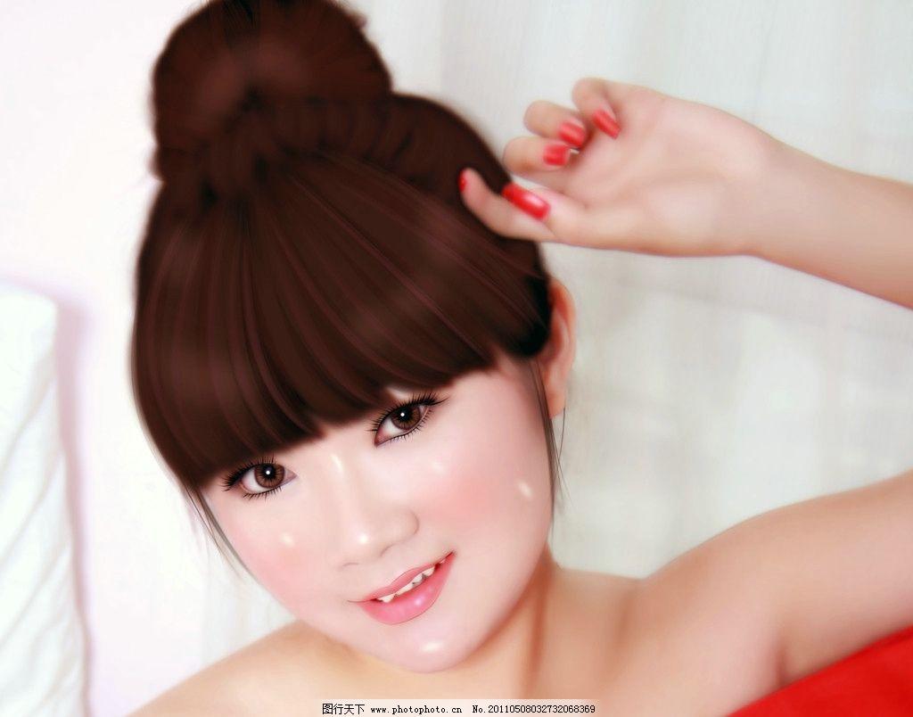 手绘现代美女 头发 五官 服饰皮肤 简单背景 手绘人物 源文件