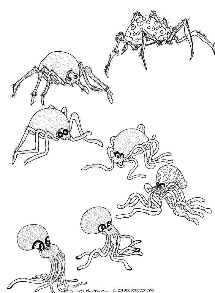 白描素材 章鱼 蜘蛛 变形