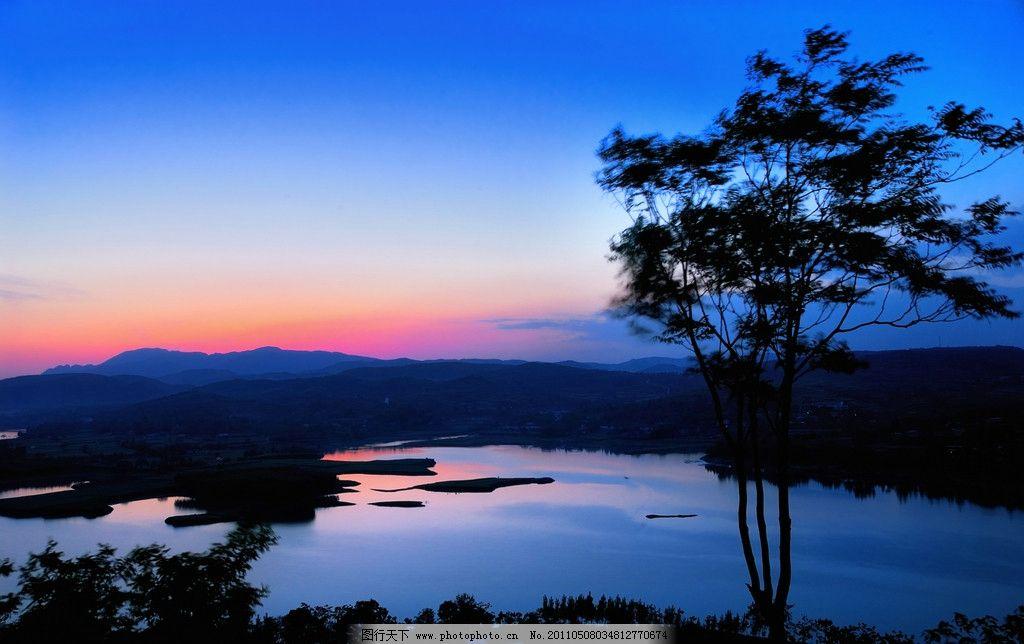 晚霞 日落 山水图片