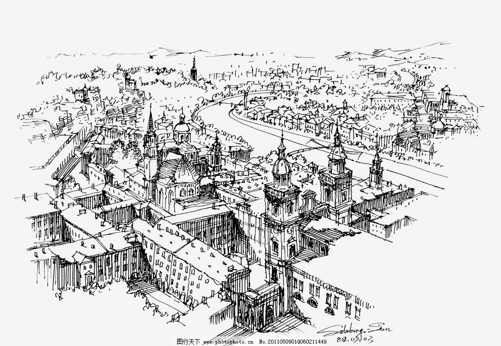 欧洲建筑风格手绘线稿