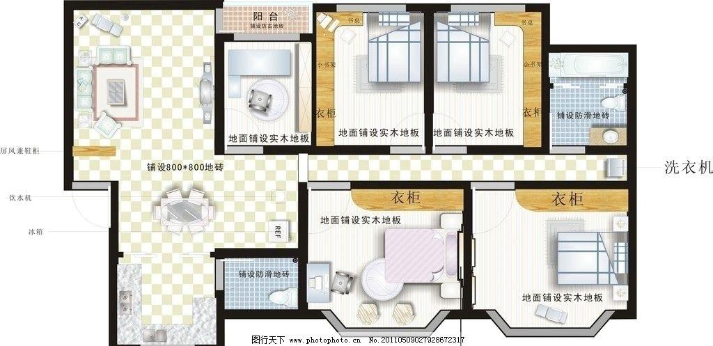 室内设计 平面效果图 室内平面效果图 建筑家居 矢量 cdr