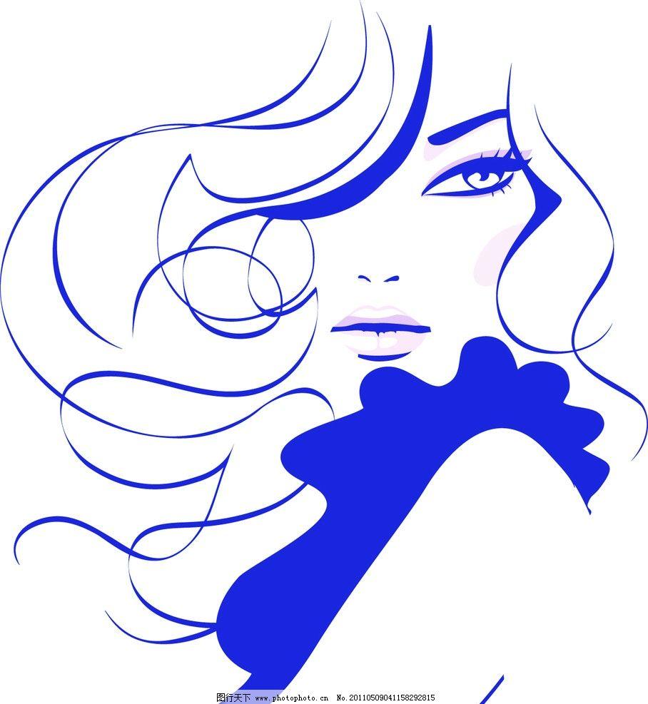 线条美女 蓝色 头发 矢量 鼻子 眼睛 嘴巴 头像 手绘线条 妇女女性