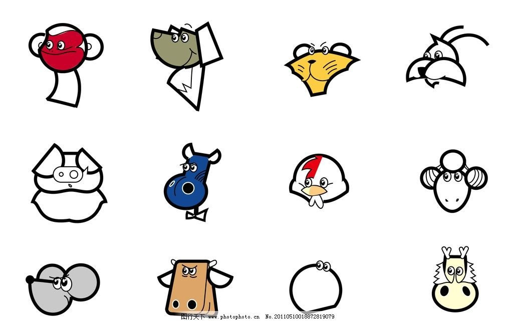 卡通十二生肖 十二生肖 卡通 简笔 鼠 牛 虎 兔 龙 蛇 马 羊 猴 鸡 狗图片