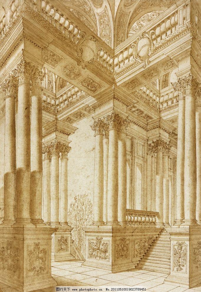 欧洲柱子 欧式 欧洲 柱子 线稿 风格 建筑 绘画书法 文化艺术 设计