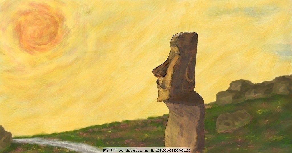 复活节岛石像风景画图片