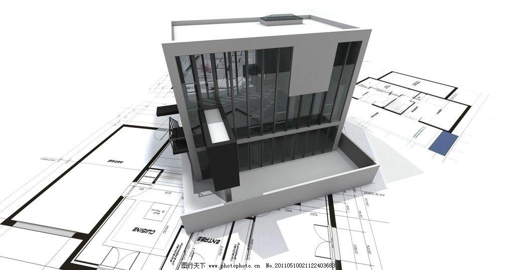 建筑图纸 示意图 样板 别墅 模型 楼房 商厦 住宅 图纸 平面图 工程图