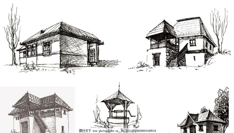 手绘古典建筑房子图片