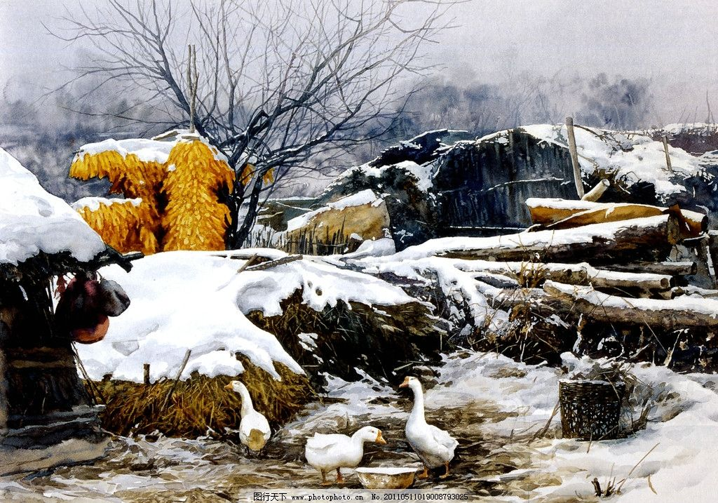 小院 水彩風景畫 農村風景畫 冬天雪地 民房籬笆 油畫風景 田野風光