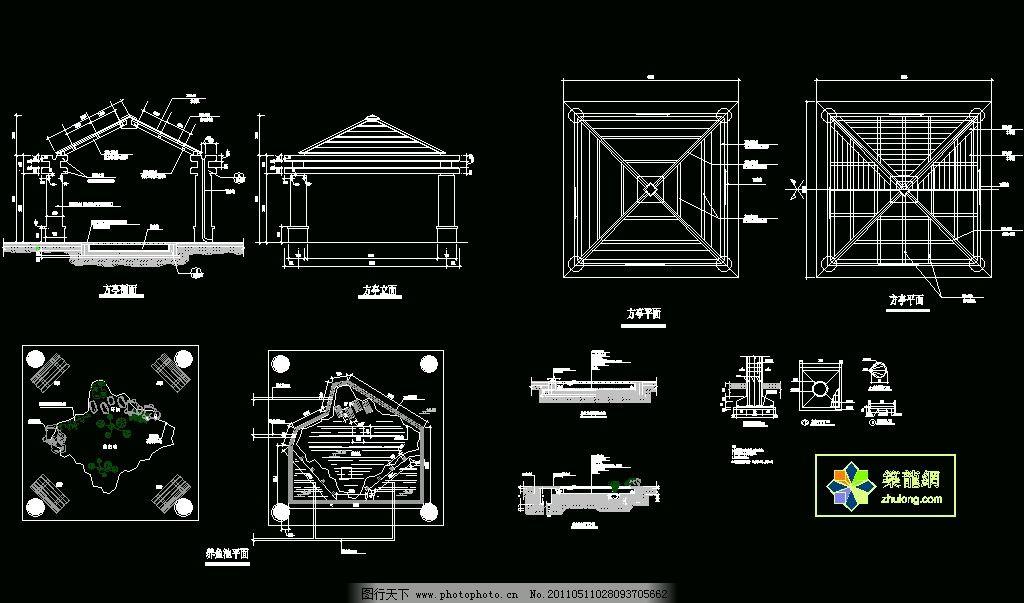 古建筑方亭 图纸 平面图 装修 装饰 施工图 室内设计 廊架 景观