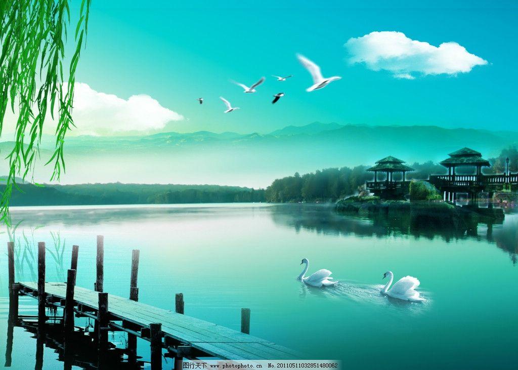 大自然美丽湖泊 大自然风景图片 天鹅 蓝色 山水 山水 天空