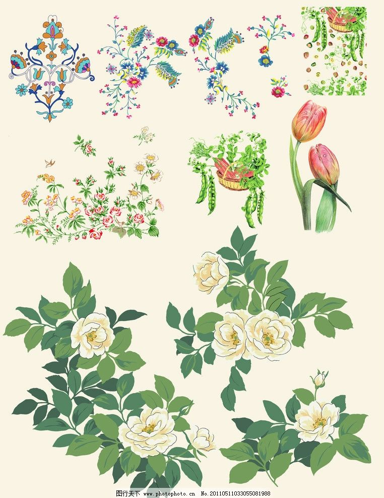 花朵 手绘 水彩 水墨 叶子 漂亮 鼠绘 抽象 花 牡丹花 psd分层素材 源