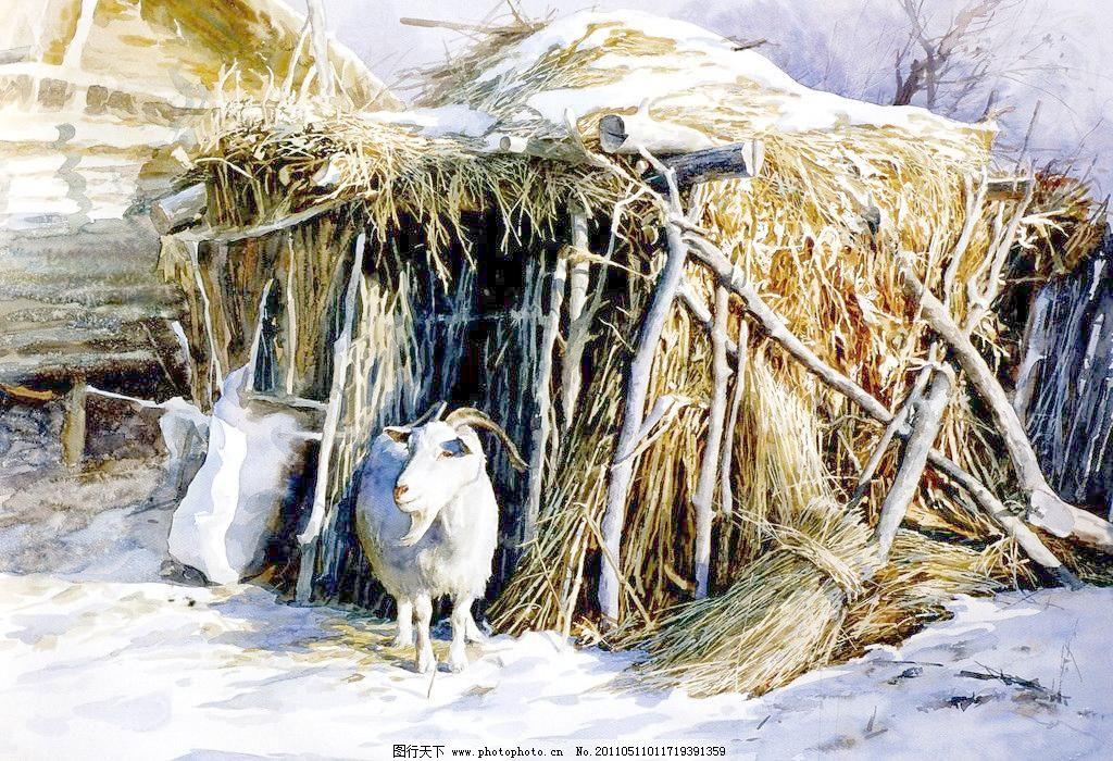 家园模板下载 家园 水彩风景画 农村风景画 冬天雪地 民房篱笆 油画