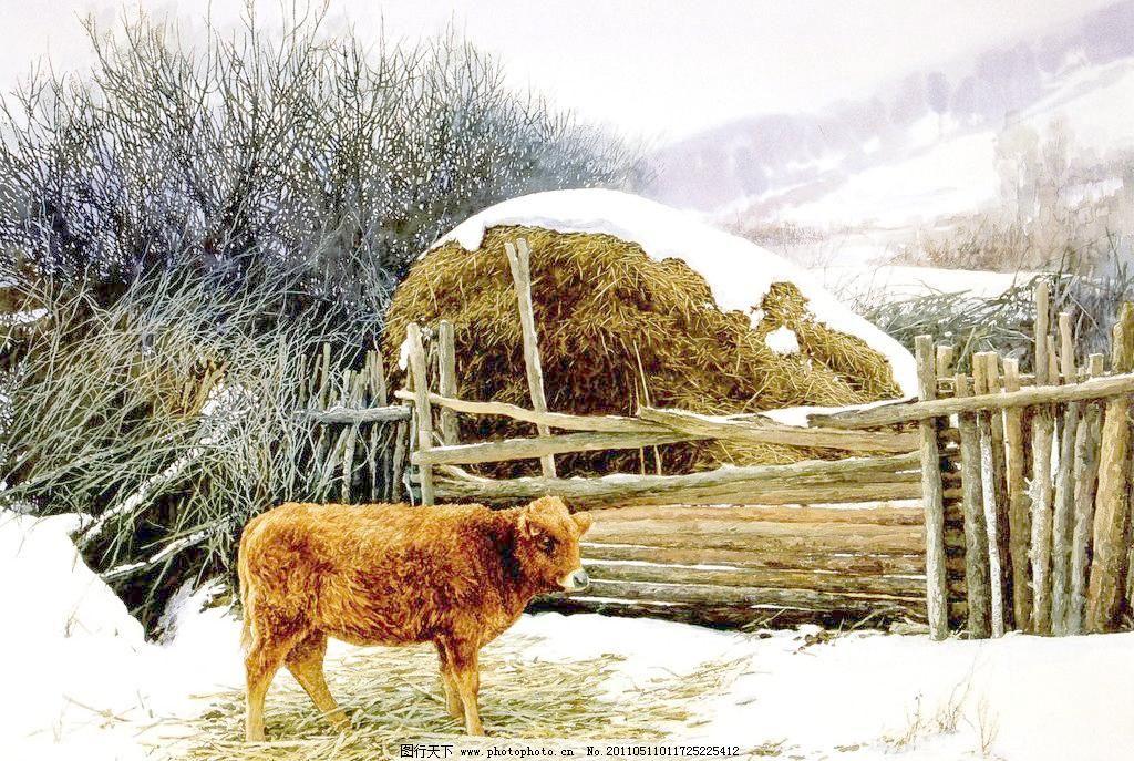 牛栏模板下载 牛栏 水彩风景画 农村风景画 冬天雪地 民房篱笆 油画